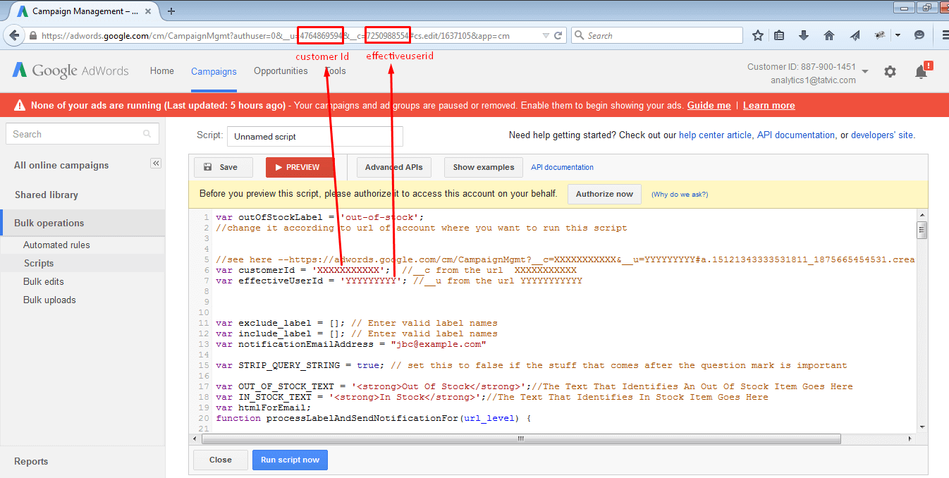 how to add customer id in adwords script